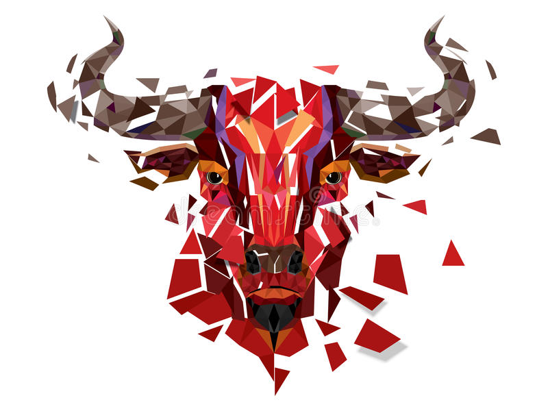 Niskiego wieloboka byka Czerwona głowa z geometrycznym wzoru wektoru illustr ilustracji