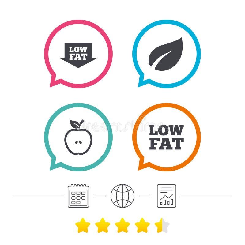 Niskotłuszczowe ikony Diety i jarscy karmowi znaki ilustracji