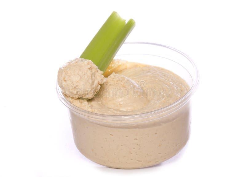 Niskotłuszczowy karmowy hummus i seler obrazy stock