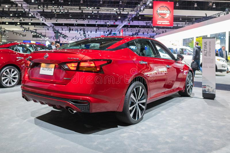 Nissan Altima on display during Los Angeles Auto Show stock images
