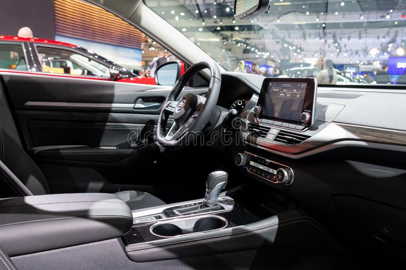 Nissan Altima on display during Los Angeles Auto Show stock photography