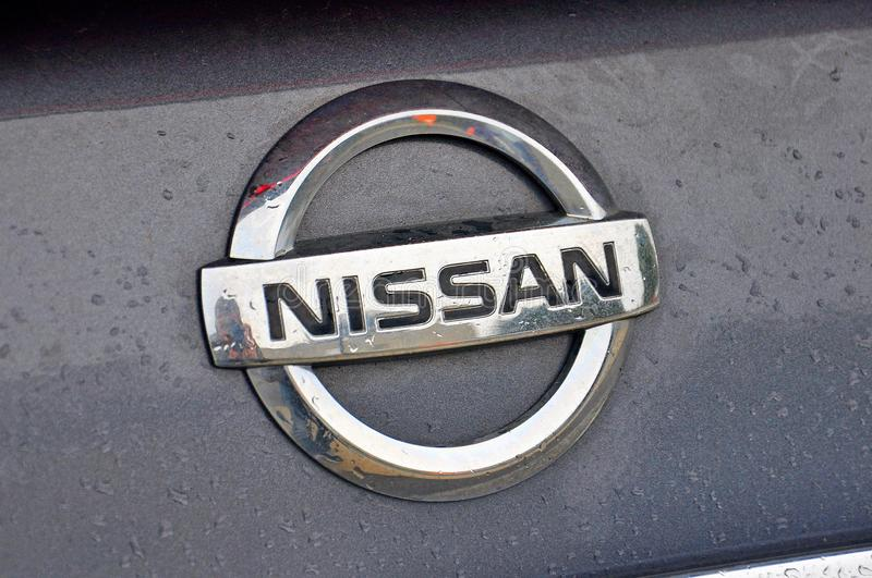 Nissan Car logo. Nissan Car Manufactorer logo on the car in Boston, USA royalty free stock photo