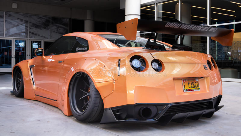 Nissan GT-R at SEMA. LAS VEGAS, NV/USA - OCTOBER 31, 2016: Customized Drive to Cure Nissan GT-R car at the Specialty Equipment Market Association SEMA 50th royalty free stock photography