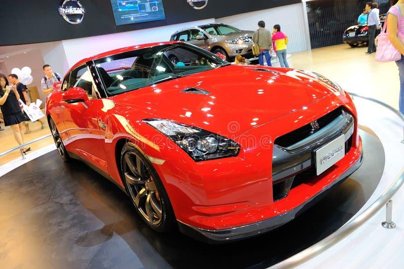Nissan-Gtr Sport-Auto auf Bildschirmanzeige stockbilder