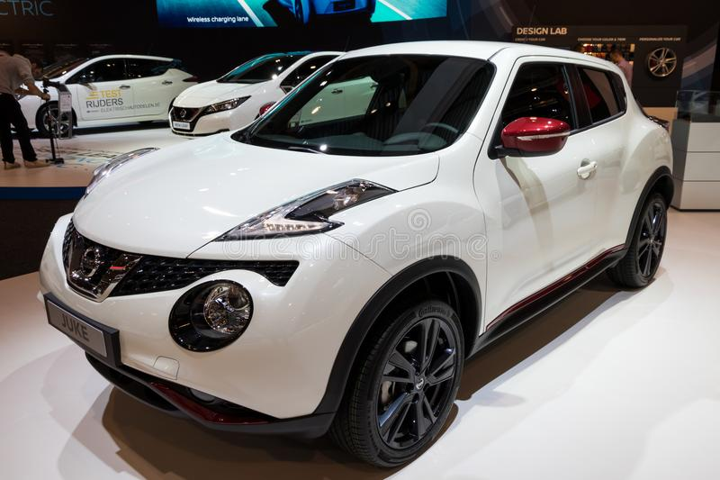Nissan Juke crossover SUV car. BRUSSELS - JAN 10, 2018: Nissan Juke subcompact crossover SUV car shown at the Brussels Motor Show royalty free stock photography