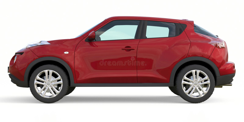 Nissan Juke Is Subcompact Crossover rouge SUV rendu 3d illustration libre de droits
