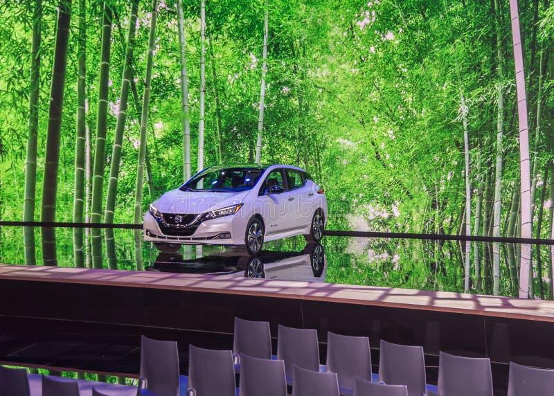 2019 Nissan liść EV obraz royalty free