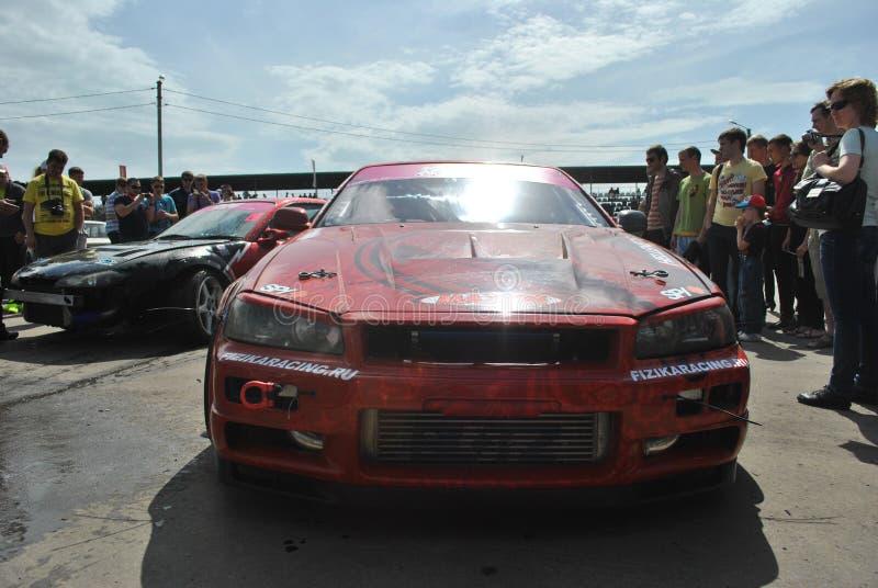 Nissan linii horyzontu r34 strojeniowy samochód wyścigowy, drif, rds obraz royalty free