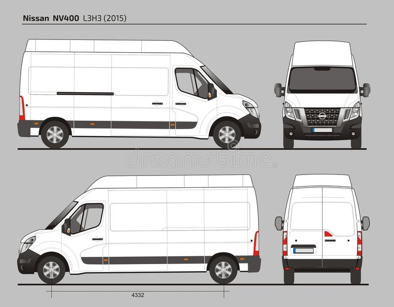 Nissan NV400 ładunek Doręczeniowy Van L3H3 2015 ilustracja wektor