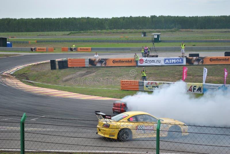 Nissan Silvia Sportscar strojeniowe rywalizacje na nastrajających samochodach w dryfie rds fotografia stock