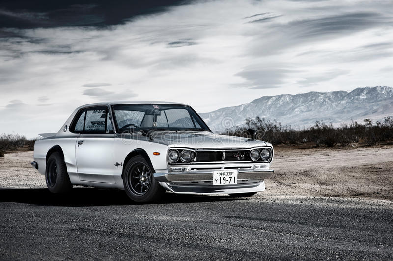 Nissan Skyline 2000GT-R (Hakosuka). The Nissan Skyline GT-R is a Japanese sports car based on the Nissan Skyline range. The first Generation GT-Rs, known by the royalty free stock photo