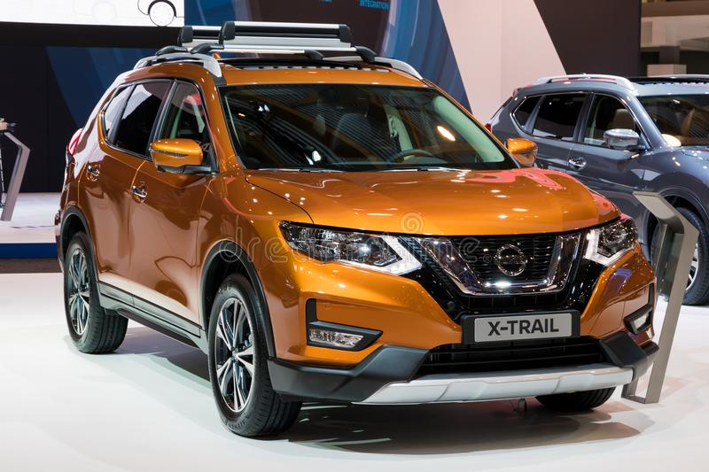 Nissan X-Trail compact crossover SUV car. BRUSSELS - JAN 10, 2018: Nissan X-Trail compact crossover SUV car shown at the Brussels Motor Show royalty free stock photography