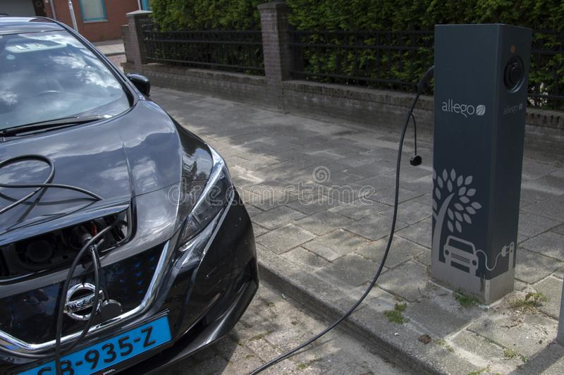 Nissan Zero Emission Electrical Car in Amstelveen die Niederlande 2019 lizenzfreie stockfotos