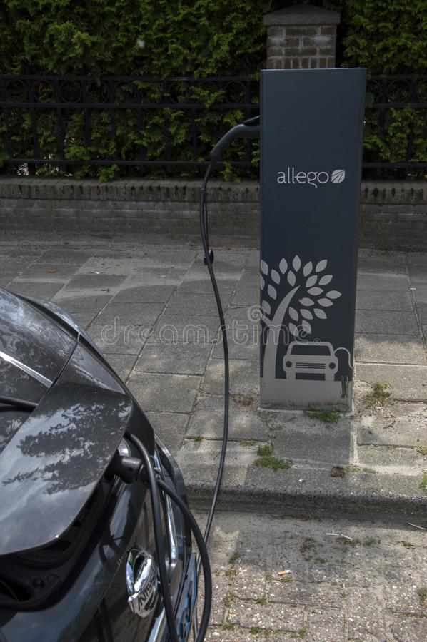 Nissan Zero Emission Electrical Car bij Amstelveen-Nederland 2019 royalty-vrije stock afbeelding