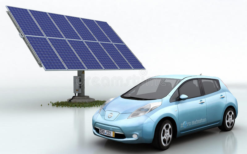 Nissans treiben mit Solarset Blätter vektor abbildung