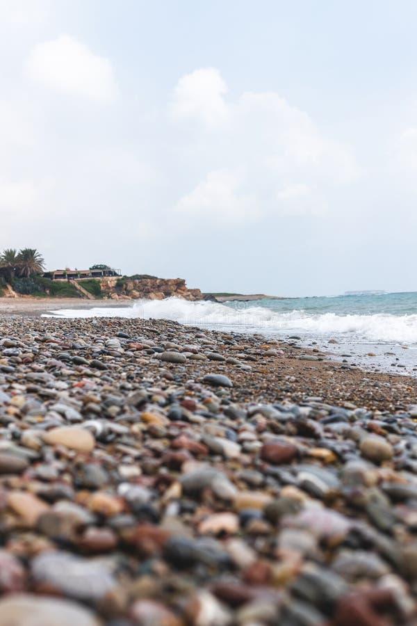Nissi海滩,Ayia Napa,塞浦路斯海岸线  免版税图库摄影
