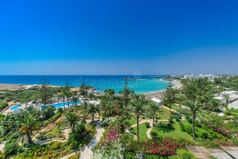 Nissi海滩, Ayia Napa塞浦路斯 免版税图库摄影