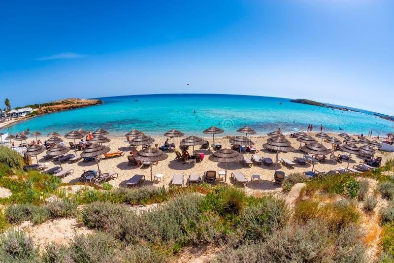 Nissi strand Det oigenkännliga folket på en varm sommardag, Ayia ta sig en tupplur arkivfoto