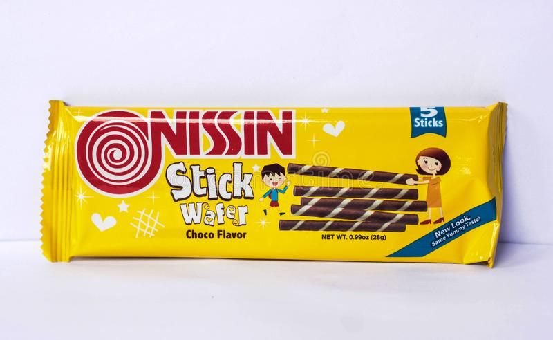 Nissin Stick Wafer. Camarines Sur, PHILIPPINES - FEB. 7, 2017. A close-up photo of Nissin Stick Wafer, choco flavor, manufactured by Monde Nissin from the stock image