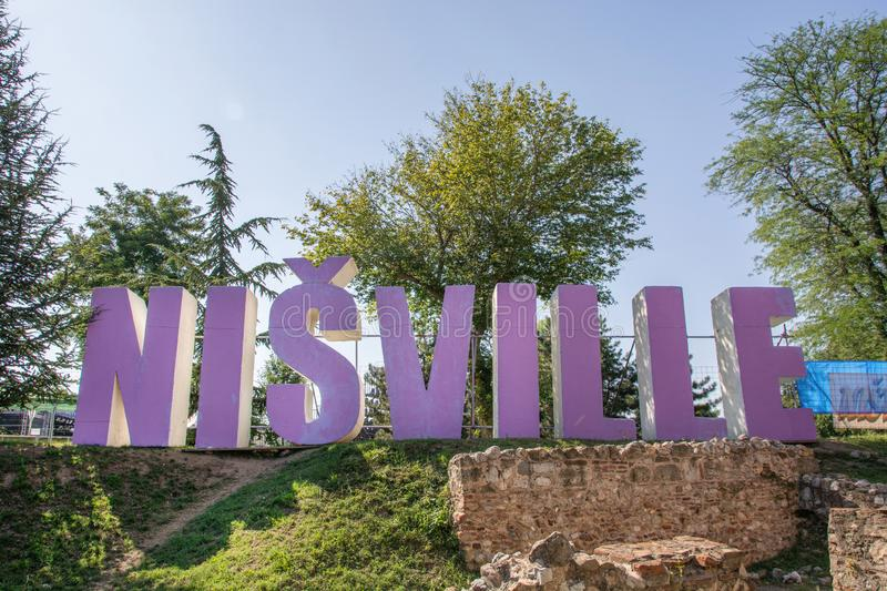 Nisville sign on international jazz festival and purple big text stock images