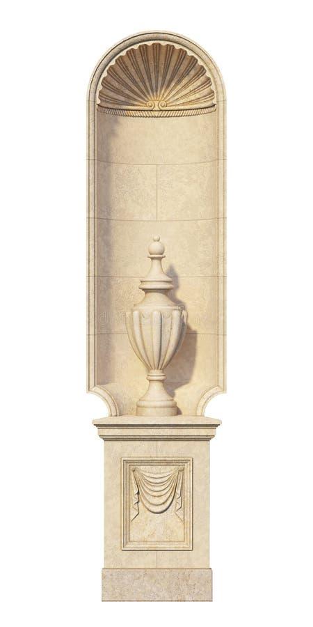 Nisza w klasycznym stylu z kamienną wazą fotografia royalty free
