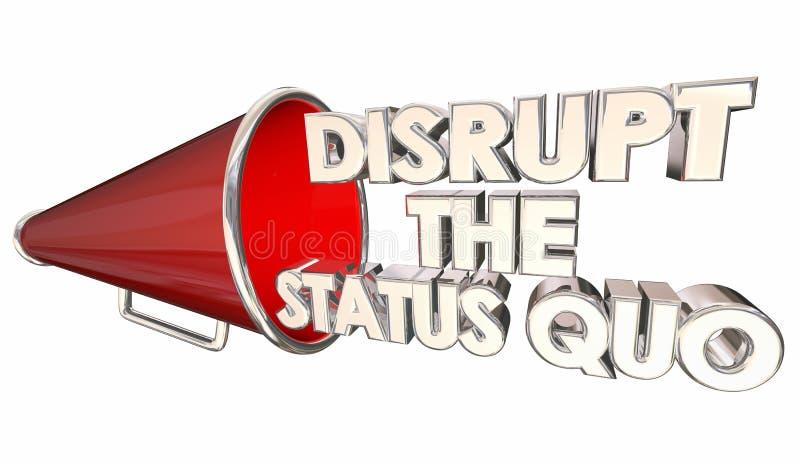 Niszczy status quo zmianę Wprowadza innowacje megafon ilustracja wektor