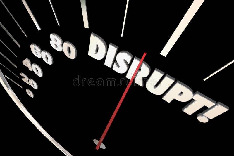 Niszczy szybkościomierz zmianę Wprowadza innowacje Rozwija ilustracja wektor
