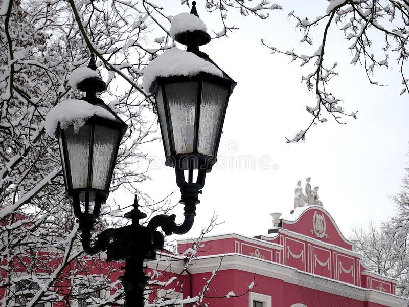 Nite stadsljus under snön royaltyfria bilder