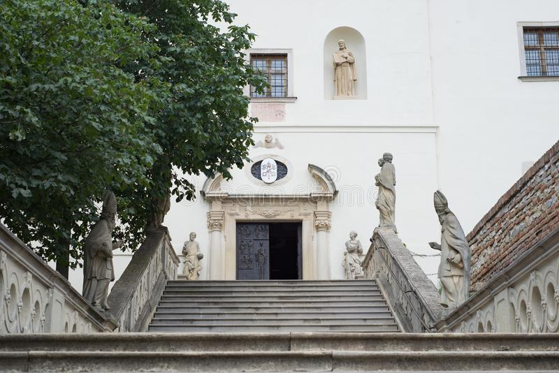Nitra castle church park gate entrance stock photo