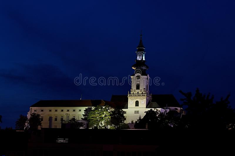 Nitra castle in night, Slovakia, Europe royalty free stock images
