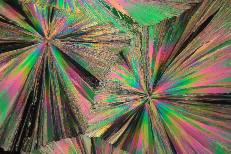 Nitrato del gadolinio debajo del microscopio fotografía de archivo