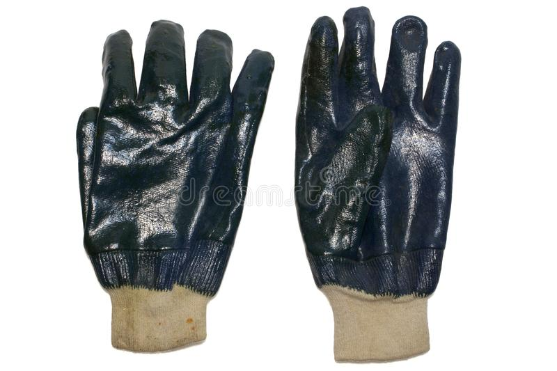 Nitrile coated working gloves. isolated, with clipping path stock photo