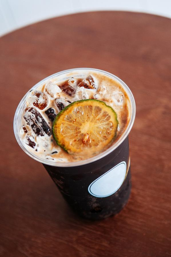 Nitro cold brew or sparkling espresso soda coffee infuse with li royalty free stock images