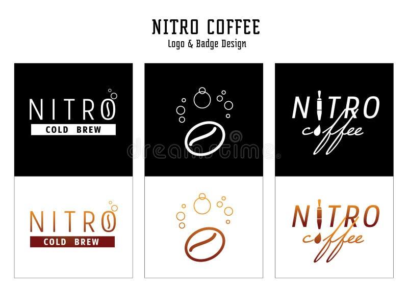 Nitro kaffelogo och emblemdesign royaltyfri illustrationer