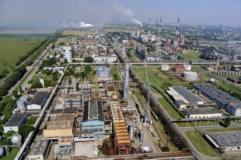 Nitrogen chemical plant in Cherkassy. Ukraine. Panorama of the chemical enterprise Nitrogen in Cherkassy. Ukraine stock images