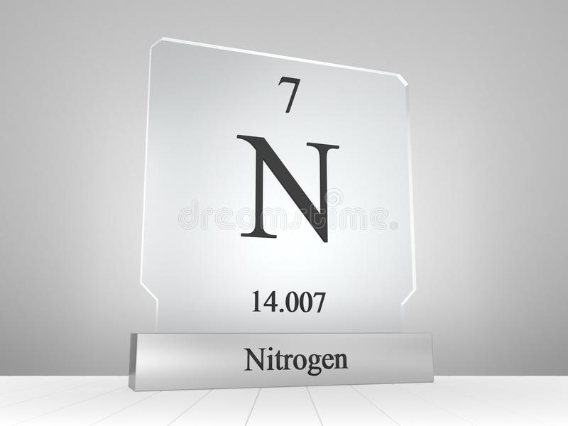 Nitrogen Symbol On Modern Glass And Metal Icon Stock Illustration