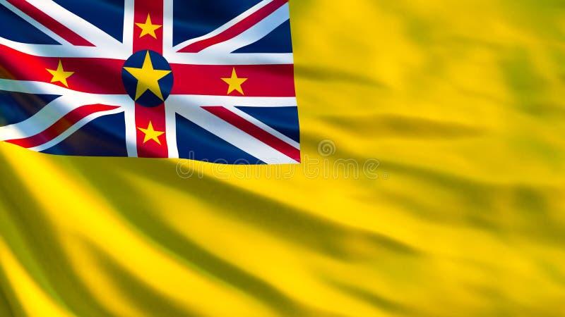 Niuisk flagga Vinkande flagga av den niuiska illustrationen 3d vektor illustrationer