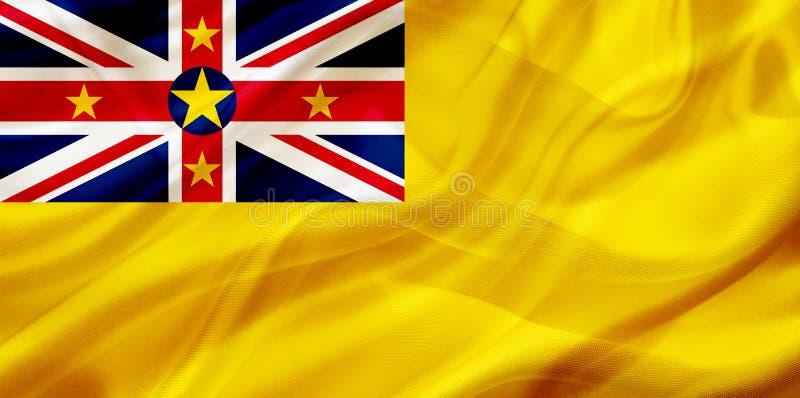 Niuisk landsflagga på siden- eller silkeslen vinkande textur royaltyfri illustrationer