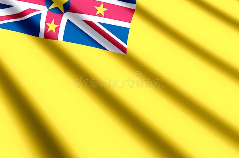 Niuiskt färgrikt vinka och closeupflaggaillustration royaltyfri illustrationer