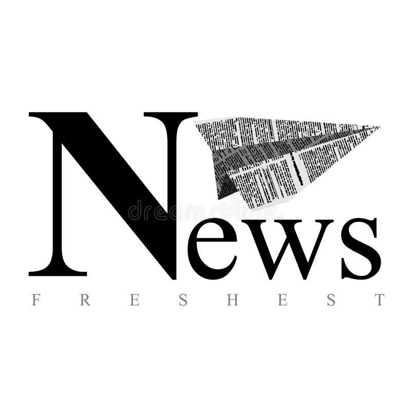 Nivå av papper Logo för tidning ny nyheterna Vektoremblem fo stock illustrationer