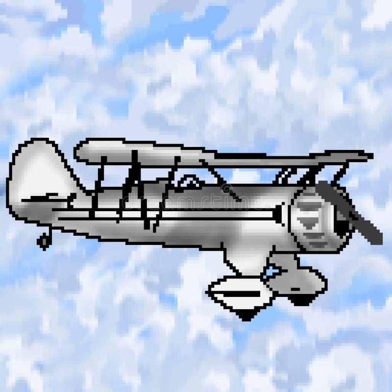 Nivå för bit för PIXEL 8 utdragen grå antik med mångfärgad molnig himmel stock illustrationer