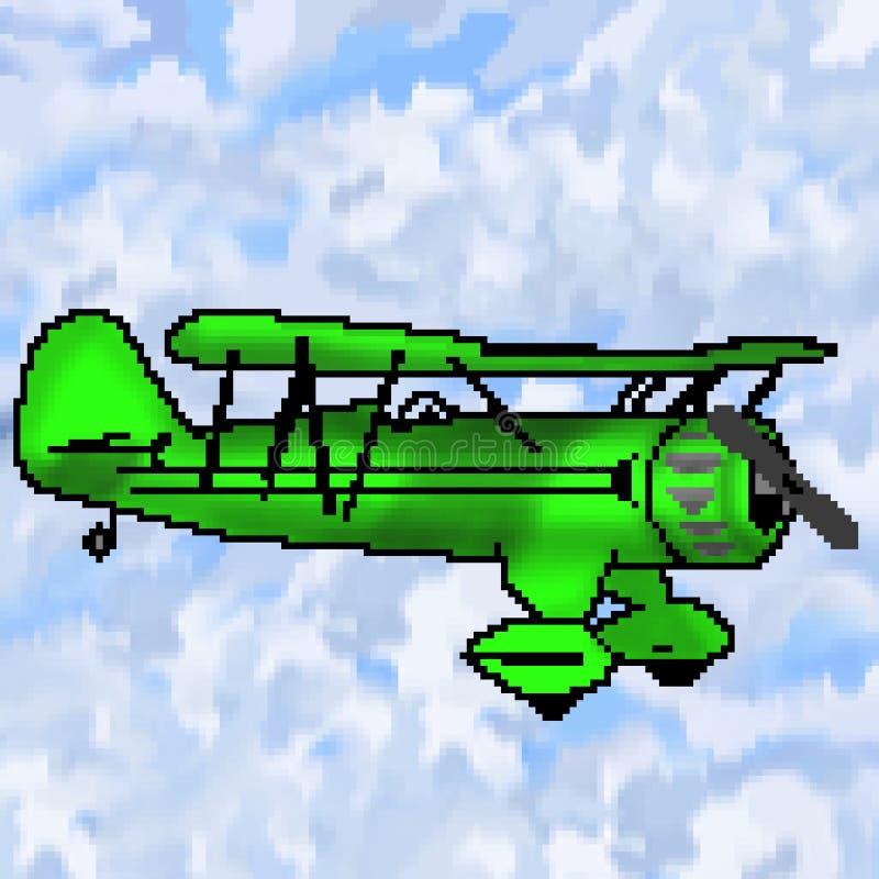 Nivå för bit för PIXEL 8 utdragen grön antik med mångfärgad molnig himmel vektor illustrationer