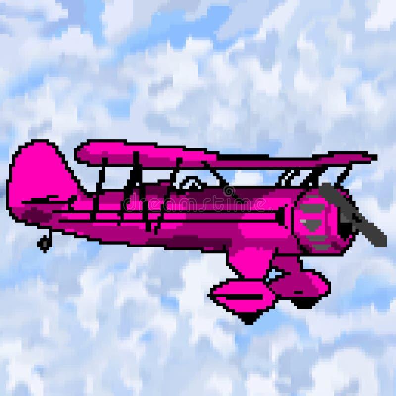 Nivå för bit för PIXEL 8 utdragen magentafärgad antik med mångfärgad molnig himmel royaltyfri illustrationer