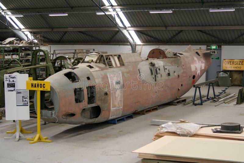 Nivå för bombplan för Warbird återställande USAAF Douglas A-20G royaltyfria bilder