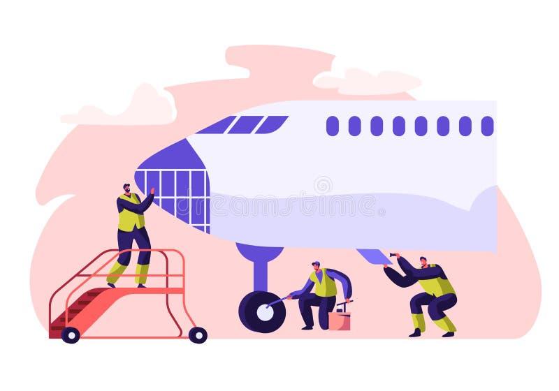 Nivå för service och för rengöra för flygplatsarbetare Tvättande flygplan för folk Man på att kontrollera för flygplanstege Tecke vektor illustrationer