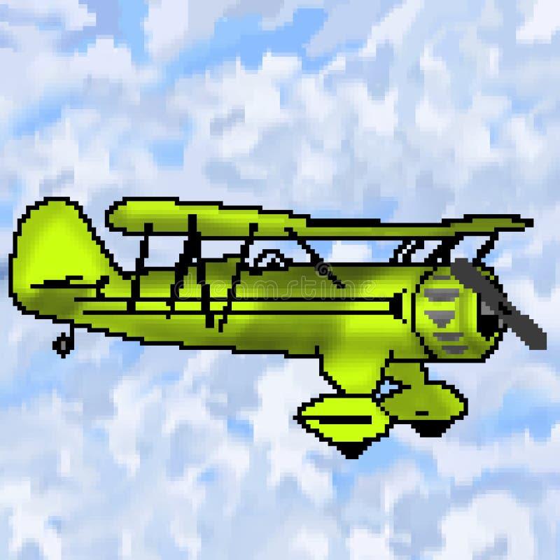 Nivå för utdragen limefrukt för bit för PIXEL 8 antik med mångfärgad molnig himmel vektor illustrationer