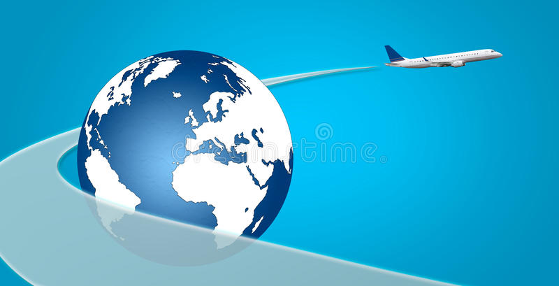 Nivå med slaglängd- och jordklotflygbegrepp stock illustrationer