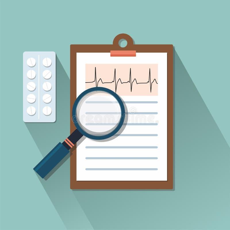 Nivå-tabell med piller och förstoringsapparaten stetoskop för pengar för begreppsliesmedicin set stock illustrationer