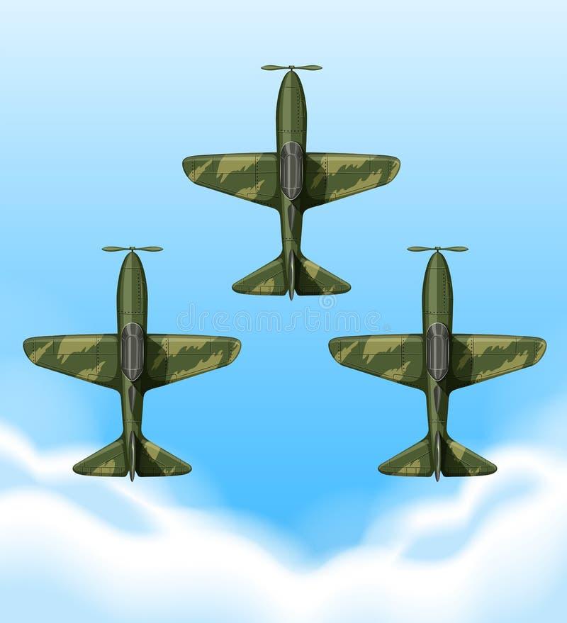 Nivåer som flyger i himlen stock illustrationer