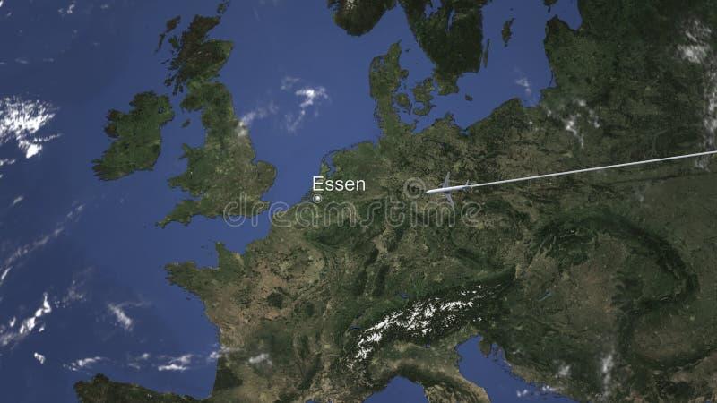 Nivån ankommer till Essen, Tyskland från öst, tolkningen 3D royaltyfri illustrationer
